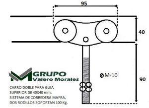 CARRO CARRIL 40 MM, PUERTA CORREDERA, CARPINTERIA METALICA